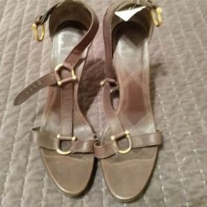 Burberry brown strappy heels